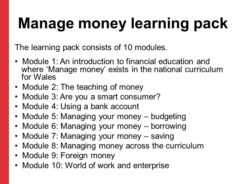 Manage money learning pack