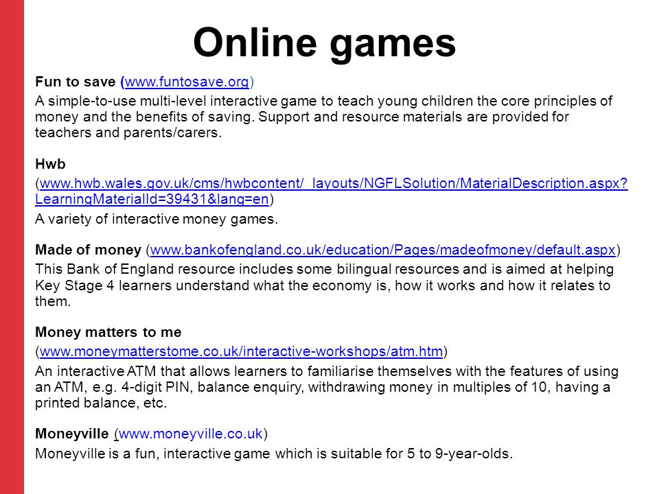 Online games Fun to save (www.funtosave.org)