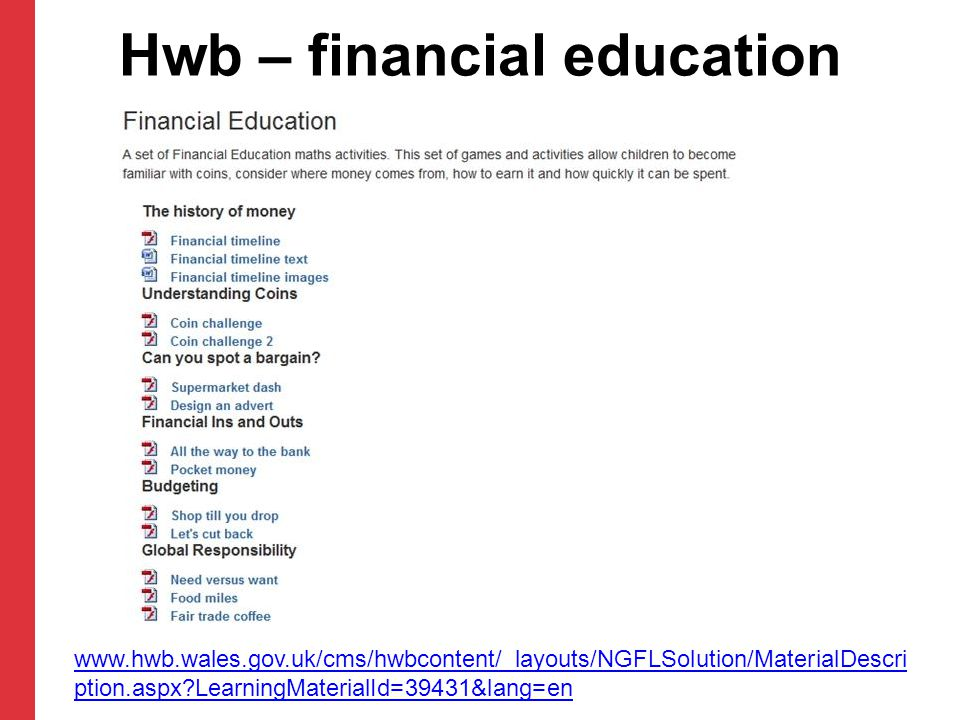 Hwb – financial education activities