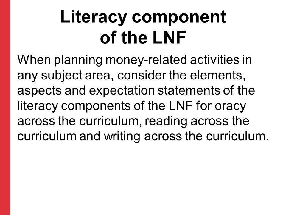 Literacy component of the LNF