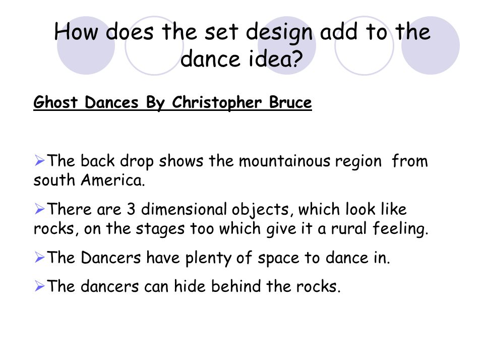 How does the set design add to the dance idea