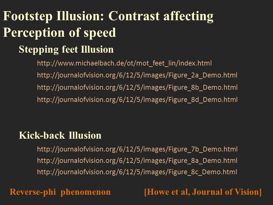 Footstep Illusion: Contrast affecting Perception of speed