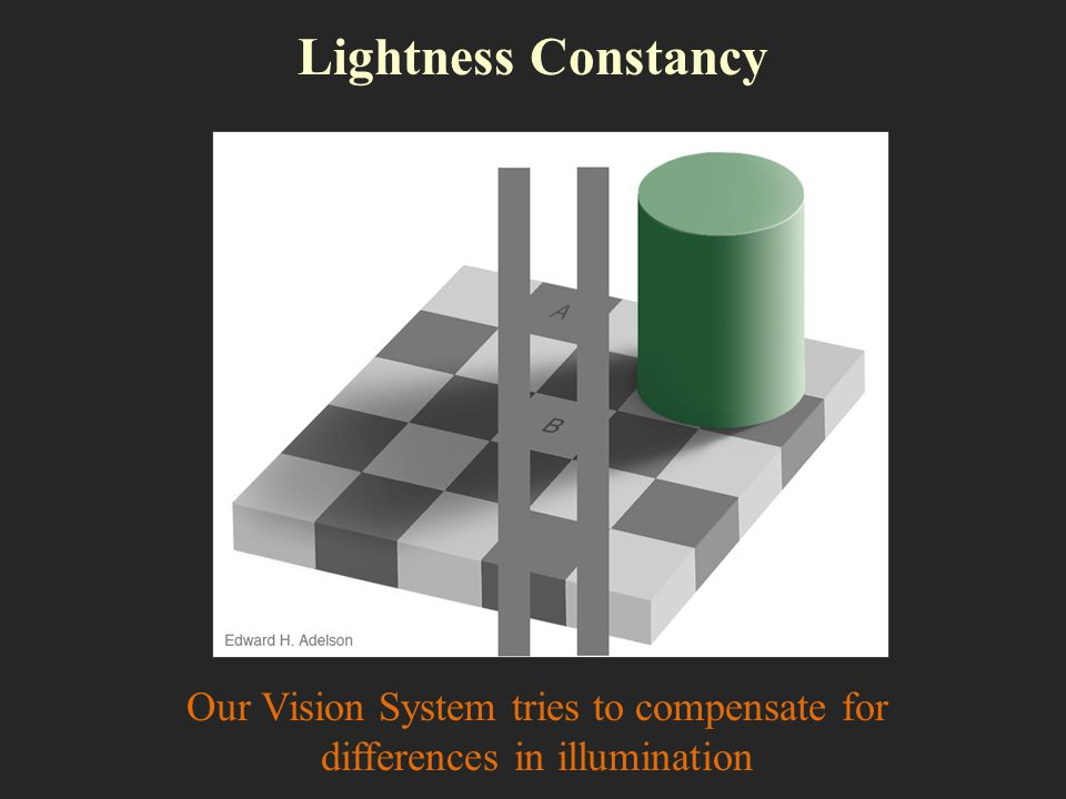 Our Vision System tries to compensate for differences in illumination