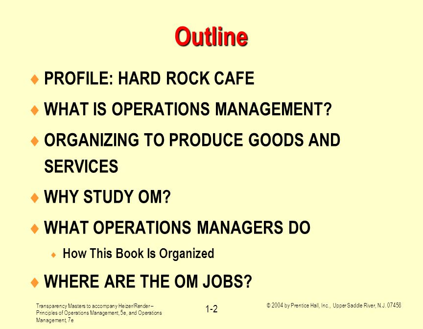 Outline PROFILE: HARD ROCK CAFE WHAT IS OPERATIONS MANAGEMENT