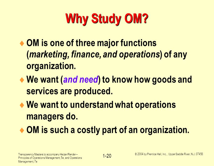Why Study OM OM is one of three major functions (marketing, finance, and operations) of any organization.