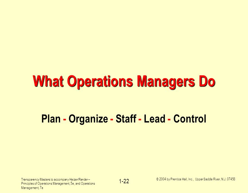 What Operations Managers Do