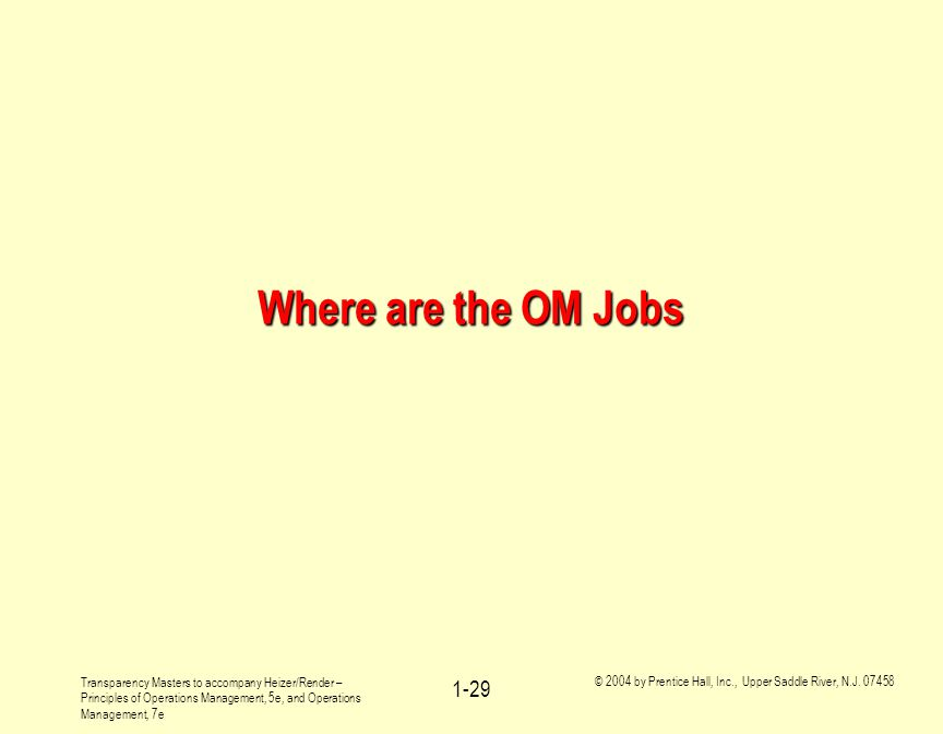 Where are the OM Jobs Transparency Masters to accompany Heizer/Render – Principles of Operations Management, 5e, and Operations Management, 7e.