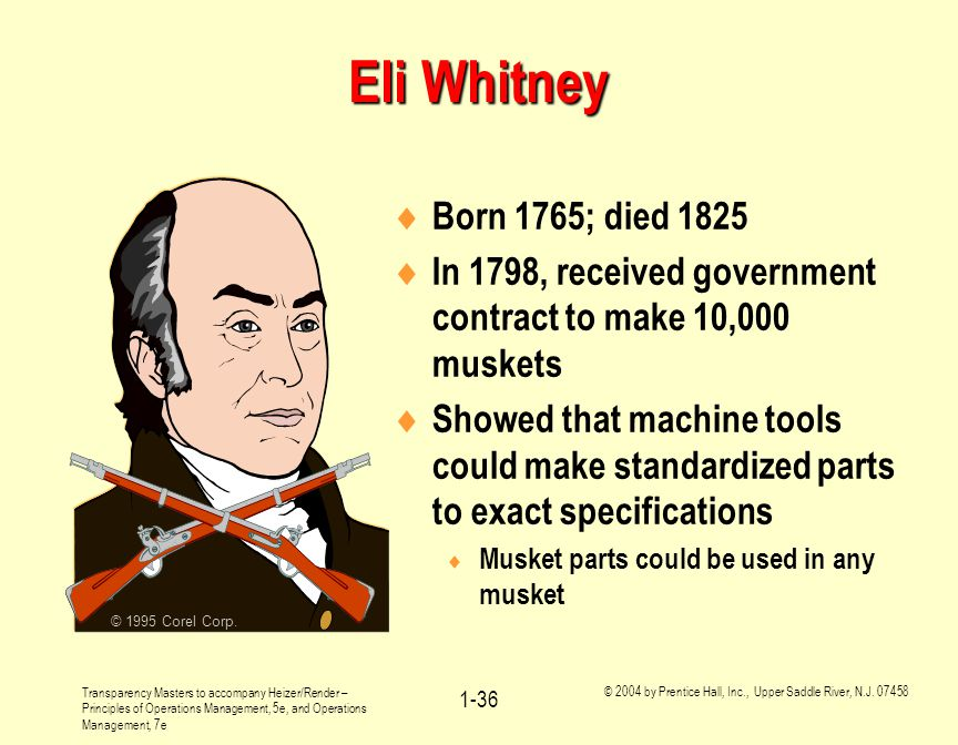 Eli Whitney © 1995 Corel Corp. Born 1765; died In 1798, received government contract to make 10,000 muskets.