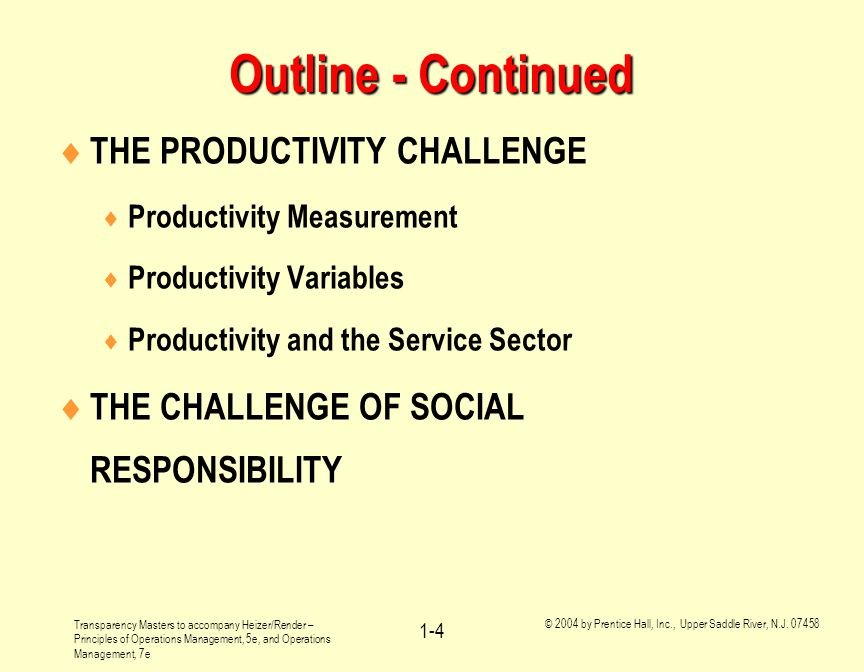 Outline - Continued THE PRODUCTIVITY CHALLENGE