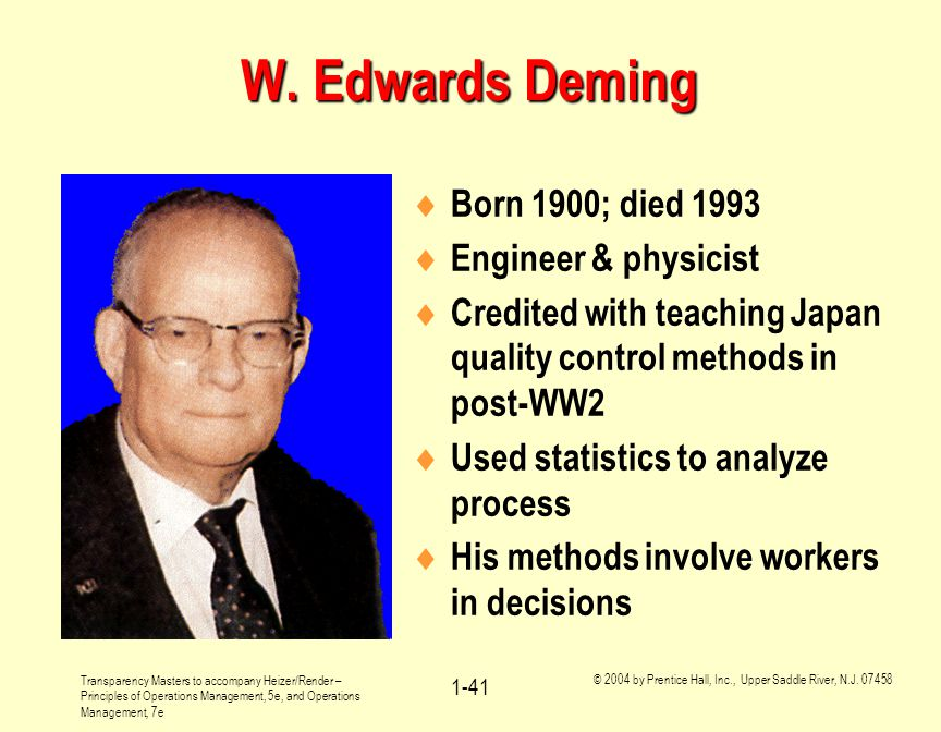 W. Edwards Deming Born 1900; died 1993 Engineer & physicist