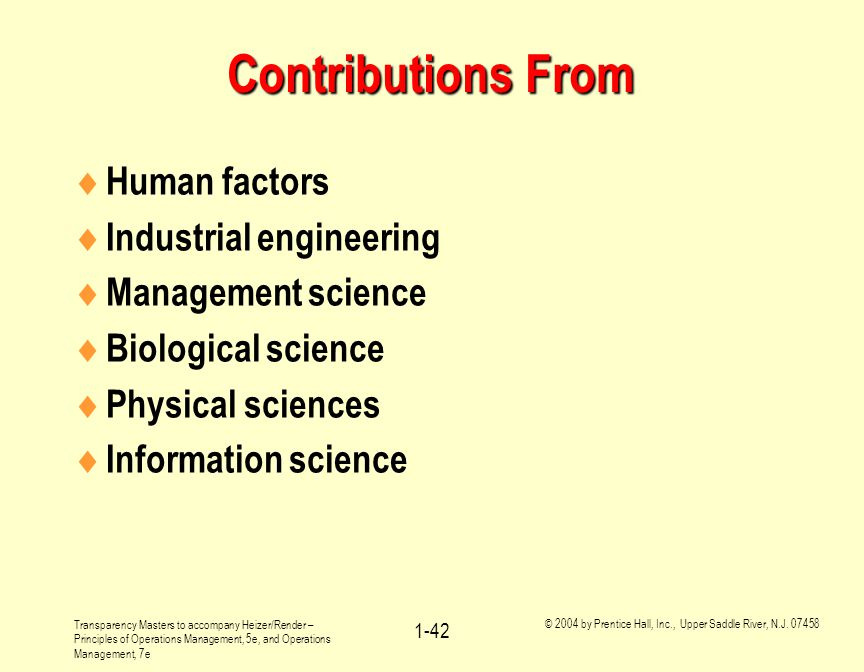 Contributions From Human factors Industrial engineering