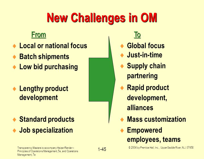 New Challenges in OM From To Local or national focus Batch shipments