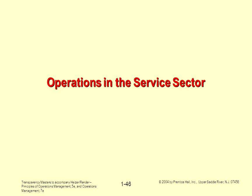 Operations in the Service Sector