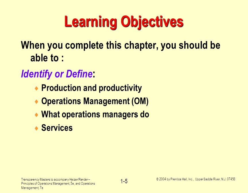 Learning Objectives When you complete this chapter, you should be able to : Identify or Define: Production and productivity.