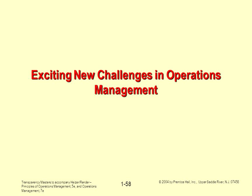 Exciting New Challenges in Operations Management