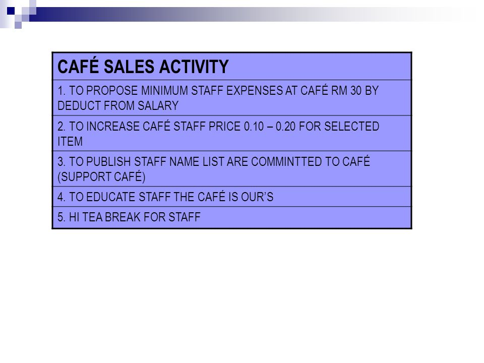 CAFÉ SALES ACTIVITY FLOWER CAFE