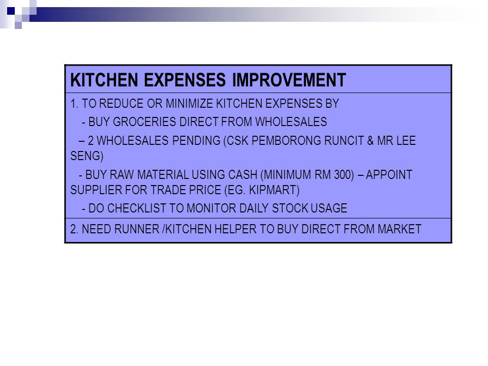 KITCHEN EXPENSES IMPROVEMENT