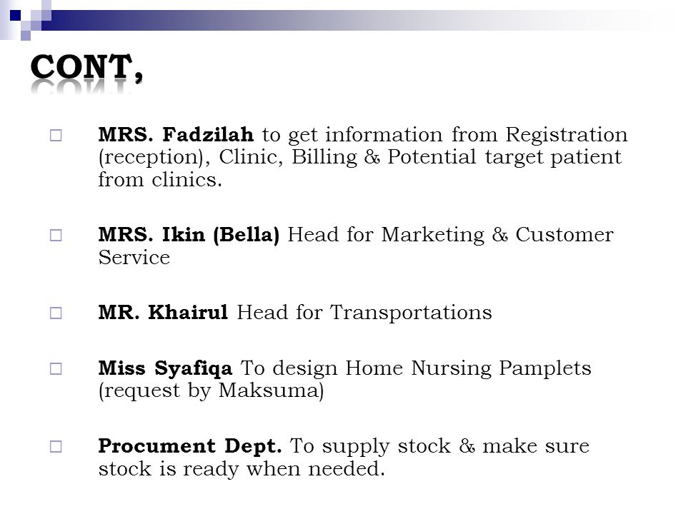 CONT, MRS. Fadzilah to get information from Registration (reception), Clinic, Billing & Potential target patient from clinics.