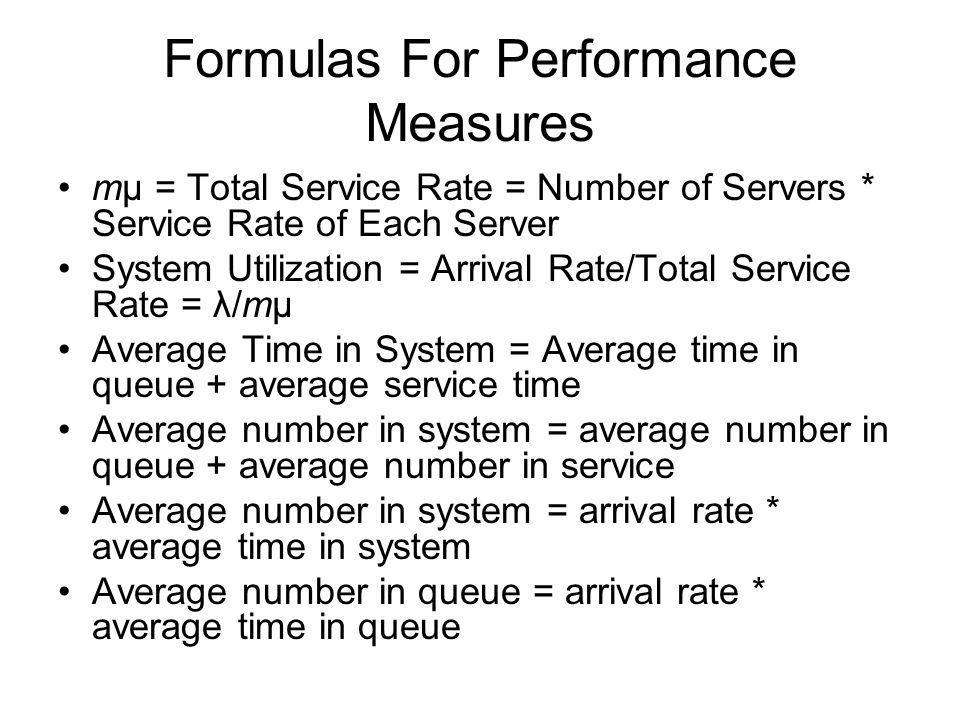 Formulas For Performance Measures