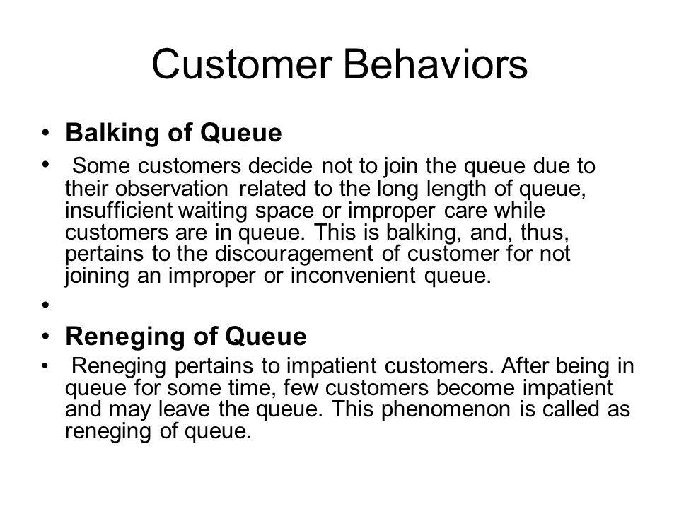 Customer Behaviors Balking of Queue