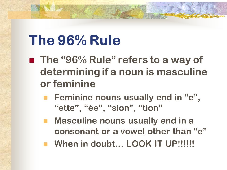 The 96% Rule The 96% Rule refers to a way of determining if a noun is masculine or feminine.
