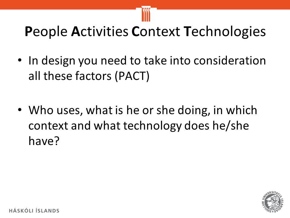 People Activities Context Technologies