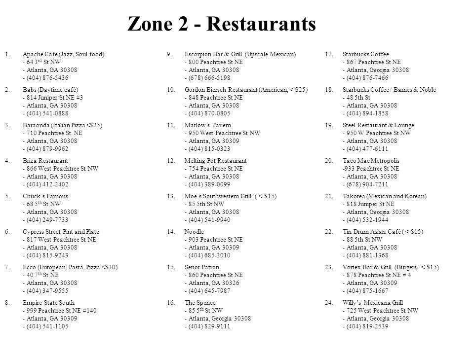 Zone 2 - Restaurants Apache Café (Jazz, Soul food) - 64 3rd St NW - Atlanta, GA 30308 - (404) 876-5436.