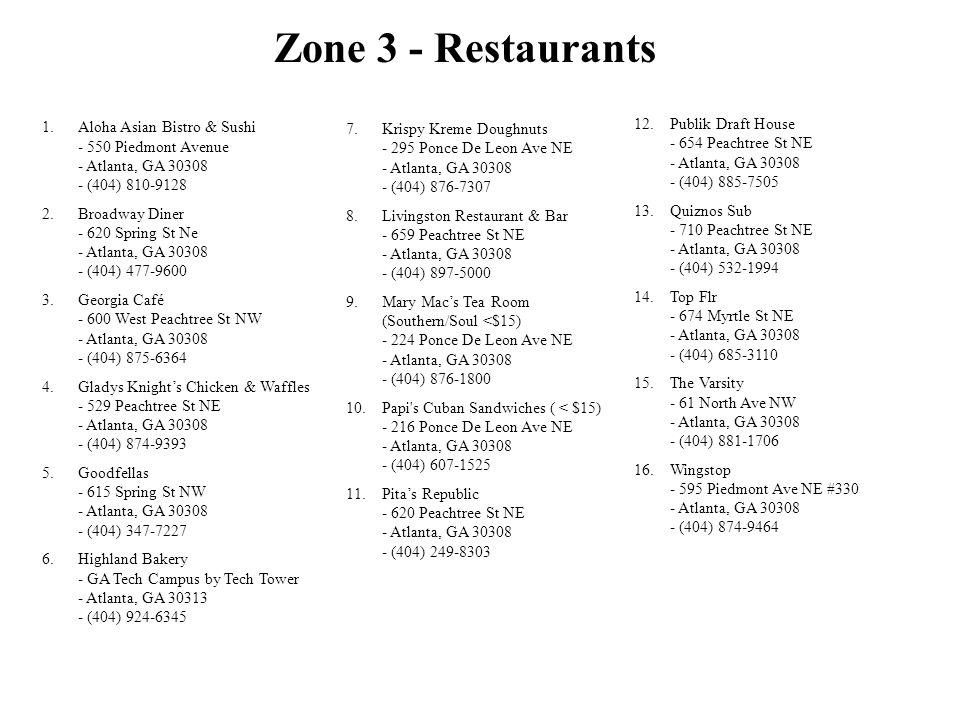 Zone 3 - Restaurants Krispy Kreme Doughnuts - 295 Ponce De Leon Ave NE - Atlanta, GA 30308 - (404) 876-7307.