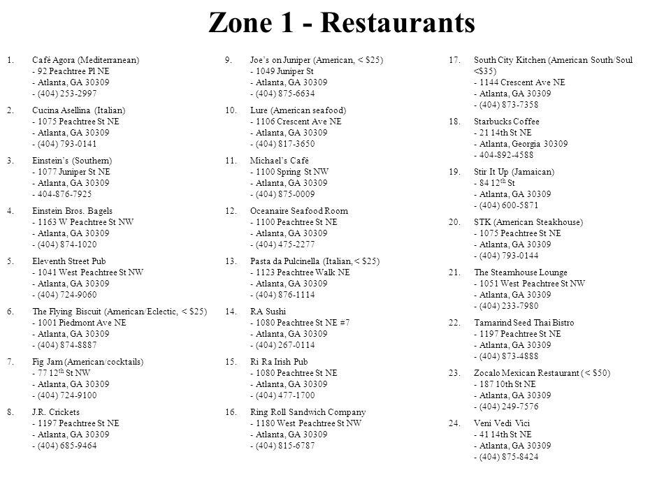 Zone 1 - Restaurants Café Agora (Mediterranean) - 92 Peachtree Pl NE - Atlanta, GA 30309 - (404) 253-2997.
