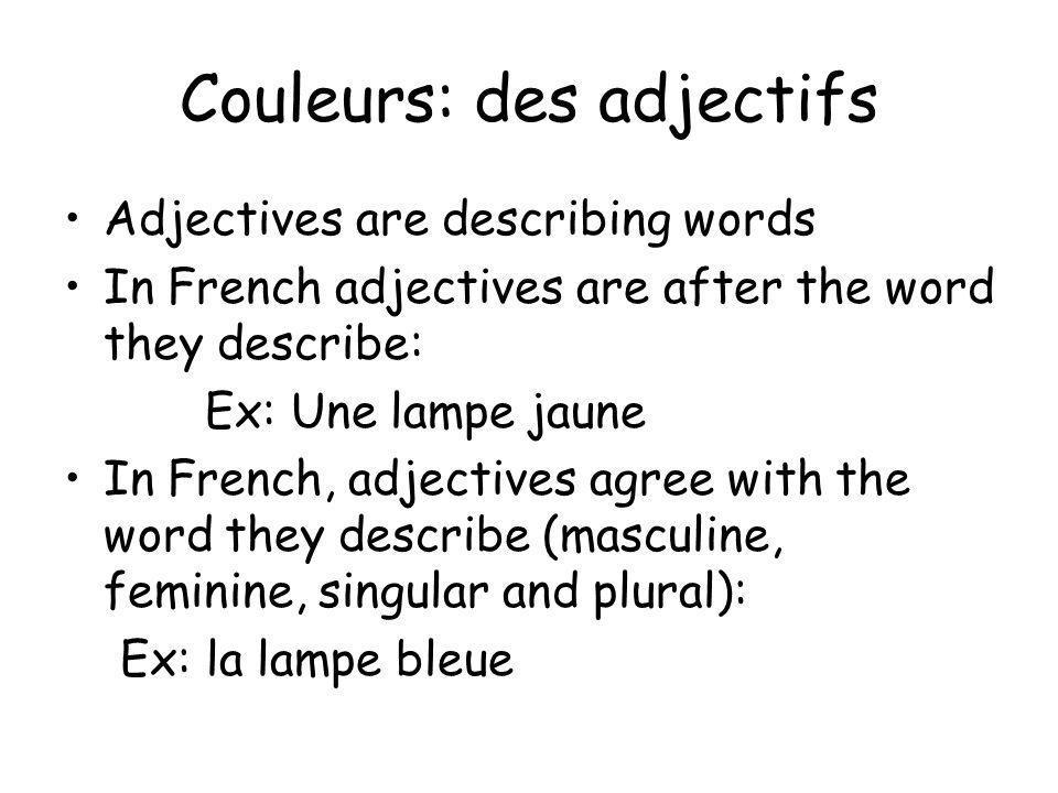 Couleurs: des adjectifs