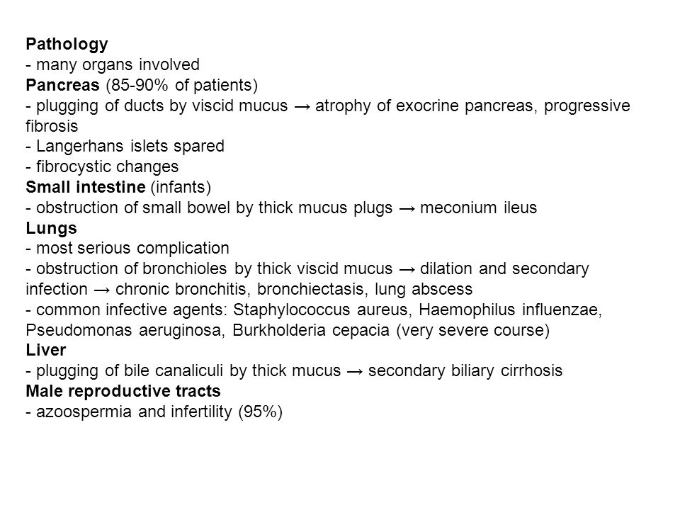 Pathology - many organs involved. Pancreas (85-90% of patients)
