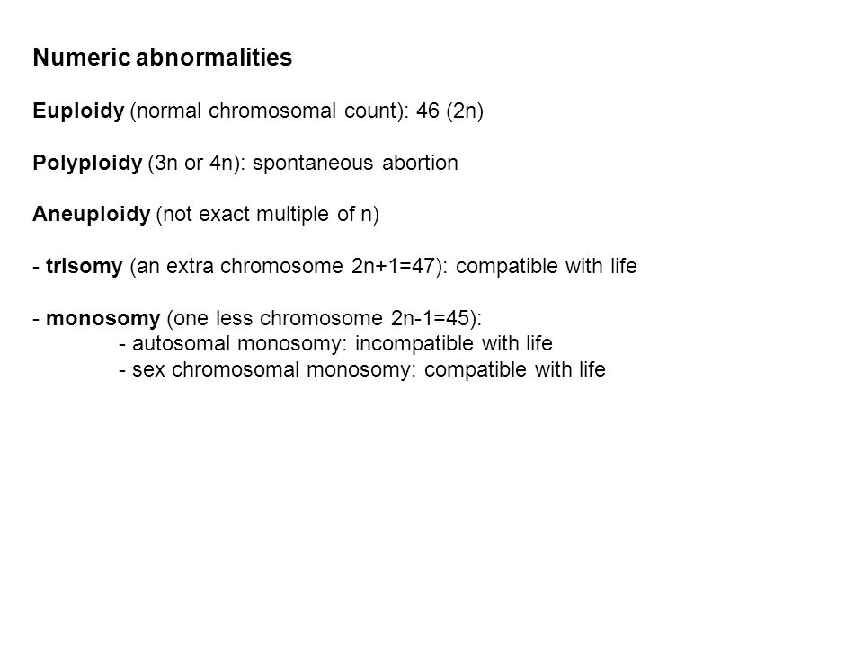 Numeric abnormalities