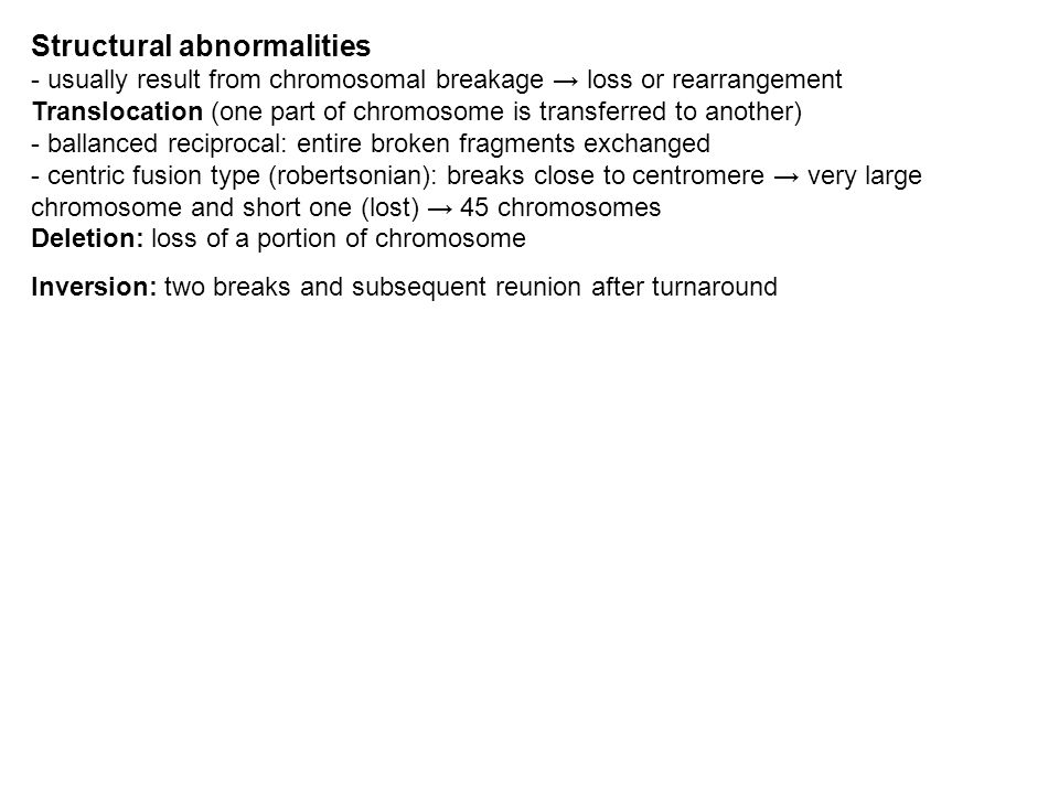 Structural abnormalities