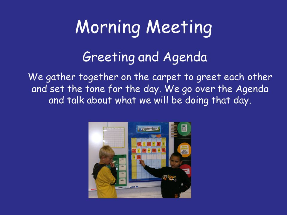 Morning Meeting Greeting and Agenda