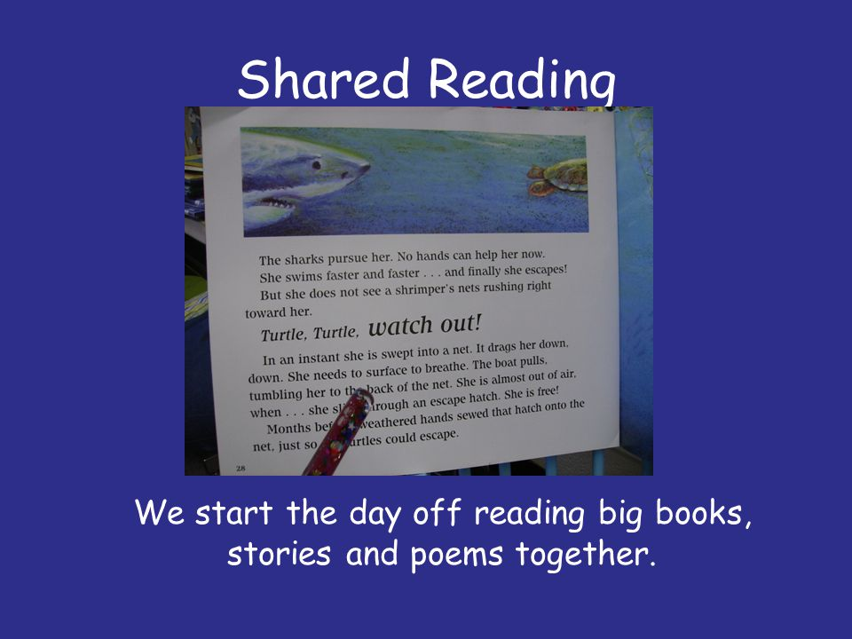We start the day off reading big books, stories and poems together.
