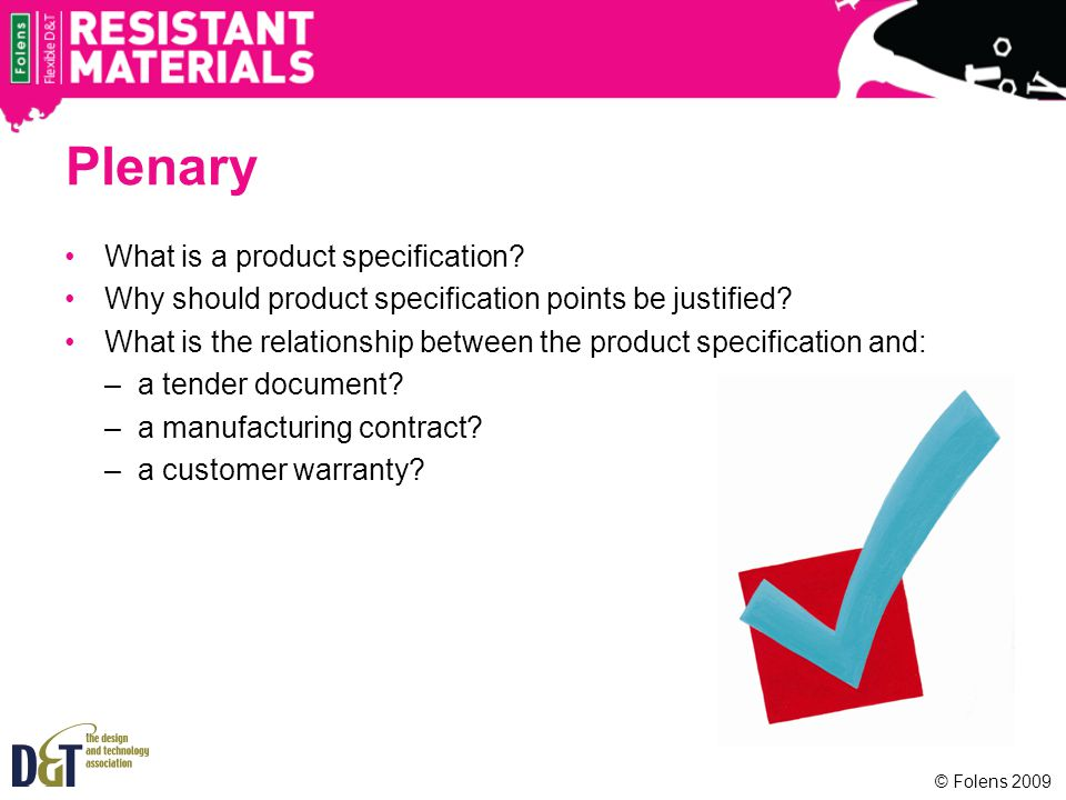 Plenary What is a product specification