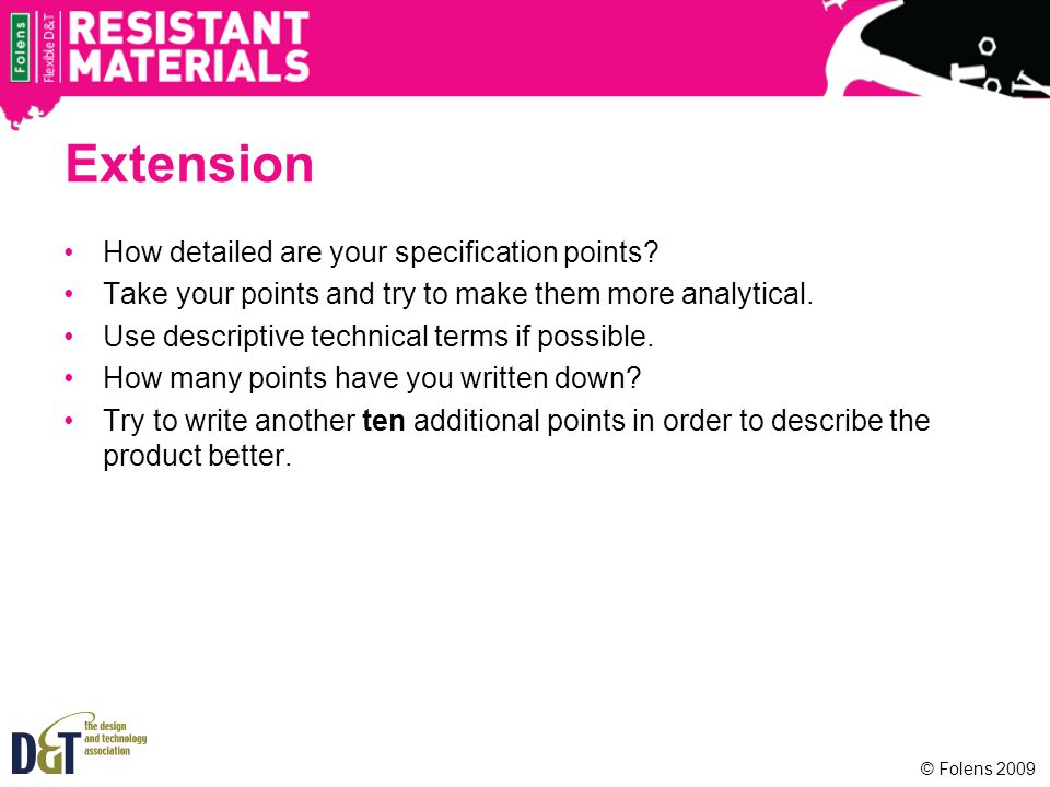 Extension How detailed are your specification points