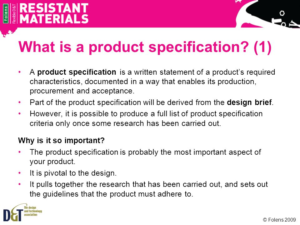 What is a product specification (1)