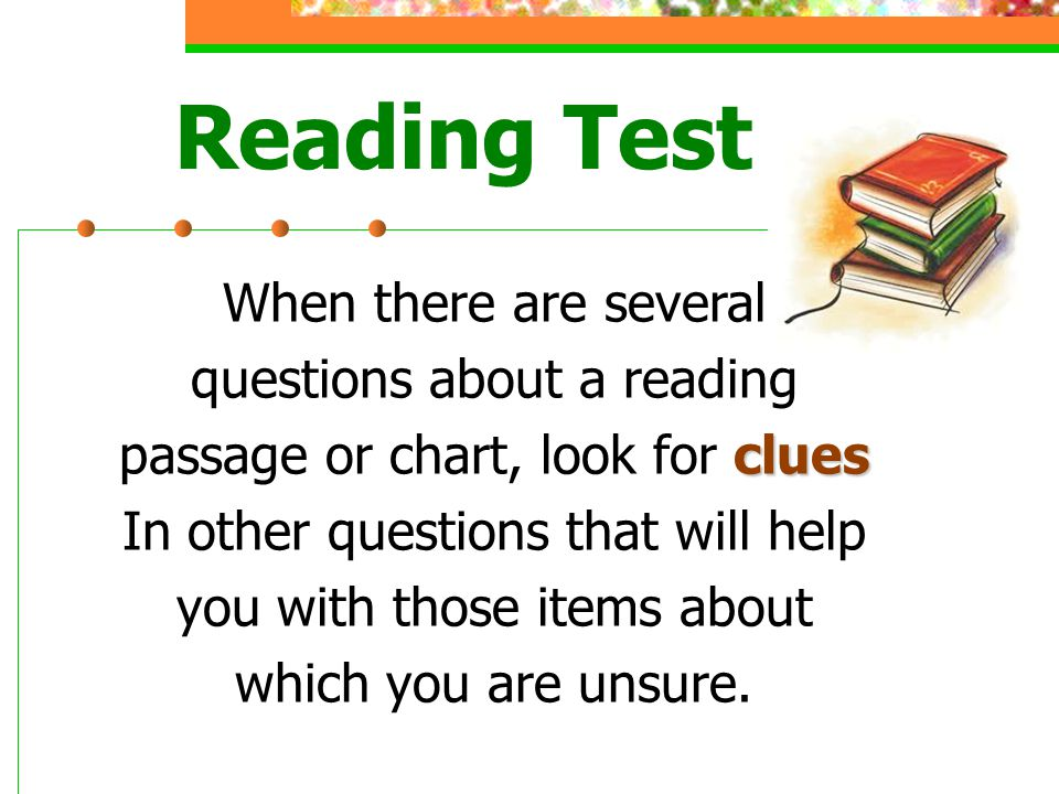 Reading Test When there are several questions about a reading