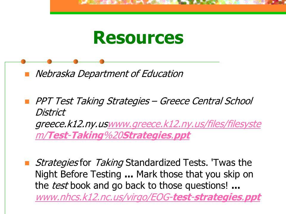 Resources Nebraska Department of Education