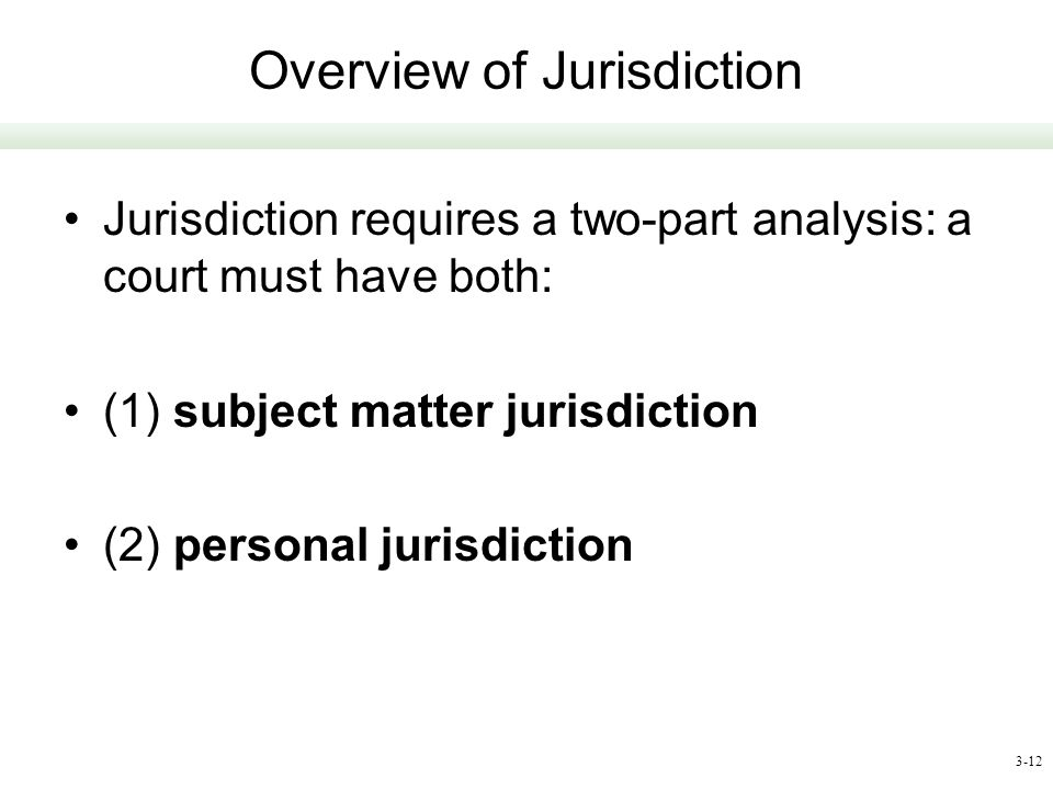 Overview of Jurisdiction