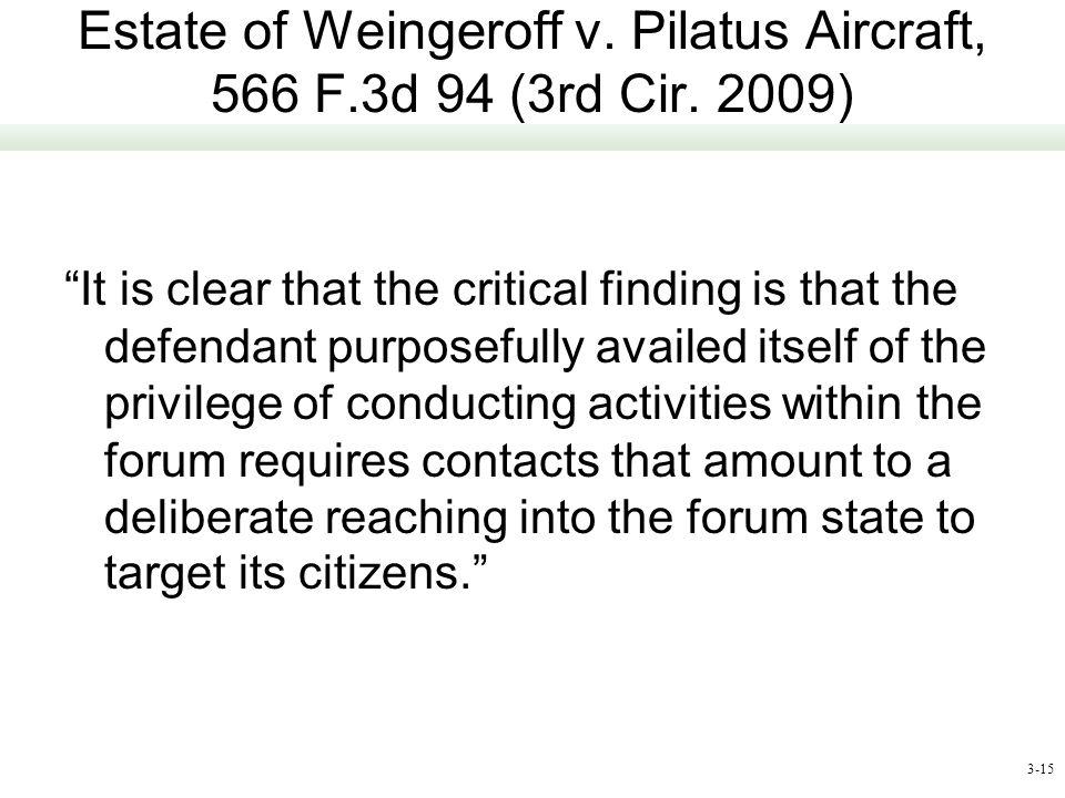 Estate of Weingeroff v. Pilatus Aircraft, 566 F.3d 94 (3rd Cir. 2009)