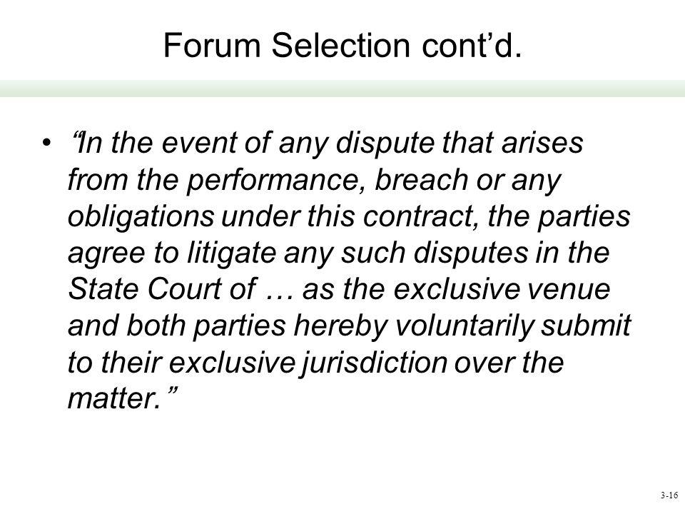Forum Selection cont'd.