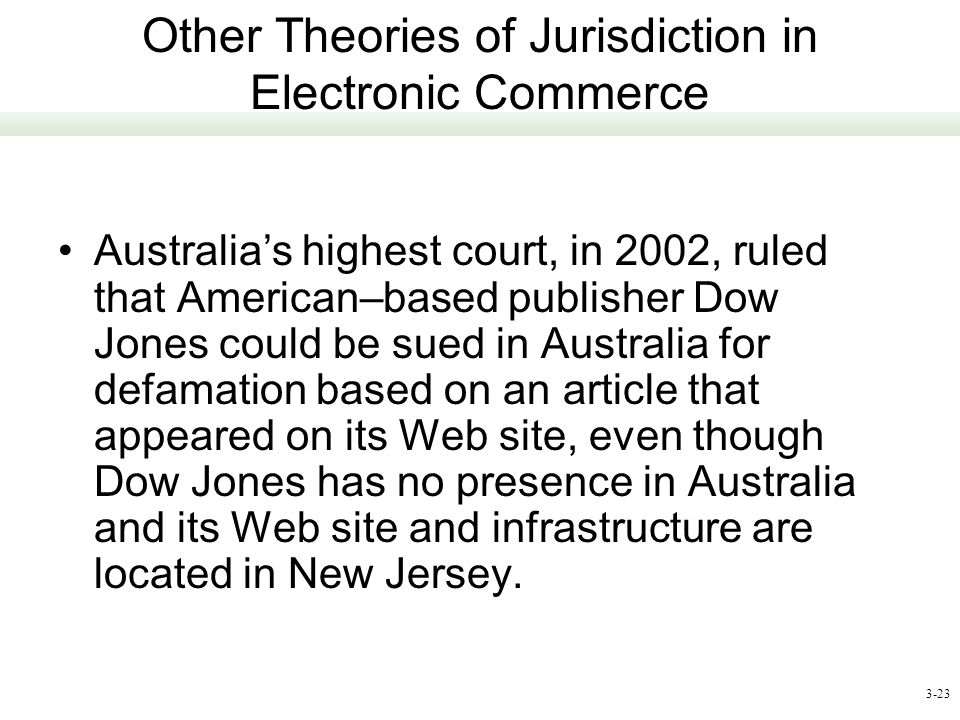 Other Theories of Jurisdiction in Electronic Commerce