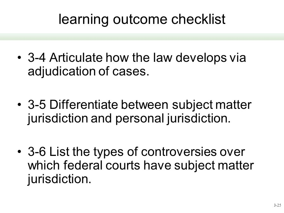 learning outcome checklist