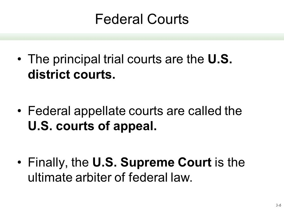 Federal Courts The principal trial courts are the U.S. district courts. Federal appellate courts are called the U.S. courts of appeal.