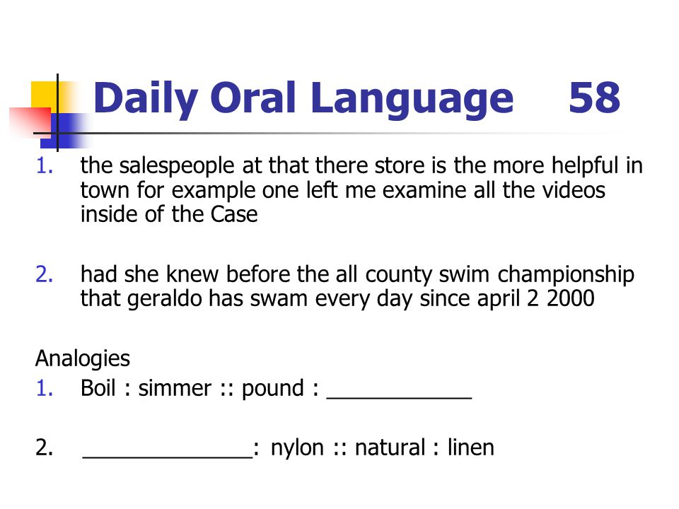 Daily Oral Language 58