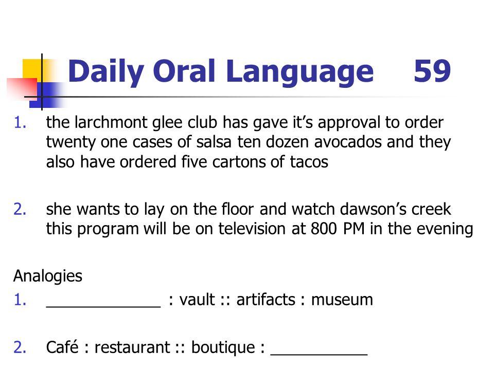 Daily Oral Language 59