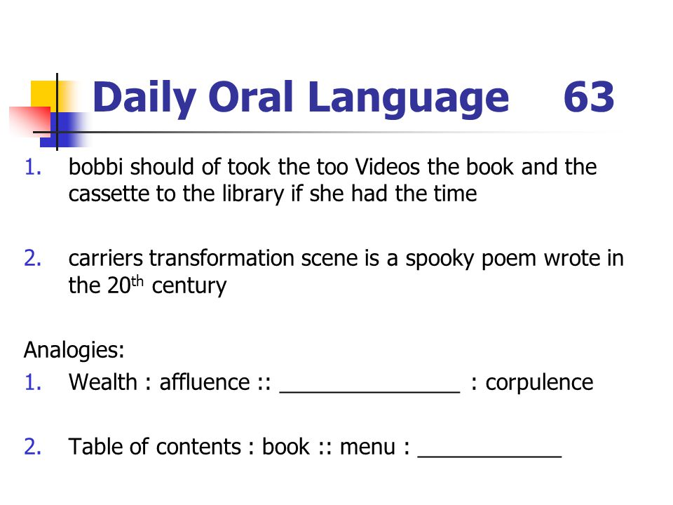 Daily Oral Language 63 bobbi should of took the too Videos the book and the cassette to the library if she had the time.