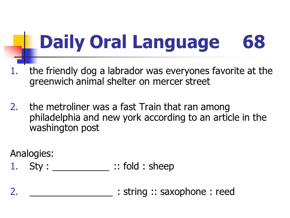 Daily Oral Language 68 the friendly dog a labrador was everyones favorite at the greenwich animal shelter on mercer street.